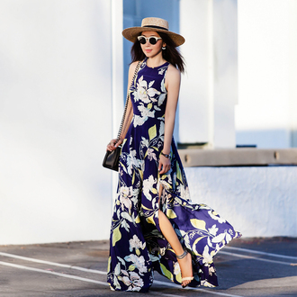 fit fab fun mom blogger dress shoes bag sunglasses hat jacket jewels blue dress floral dress maxi dress shoulder bag black bag straw hat
