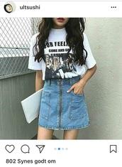 skirt,blue,denim,korean fashion,stylish,zipped skirt,denim skirt,fashion,grunge