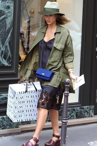 dress midi dress jessica alba sandals hat jacket black dress