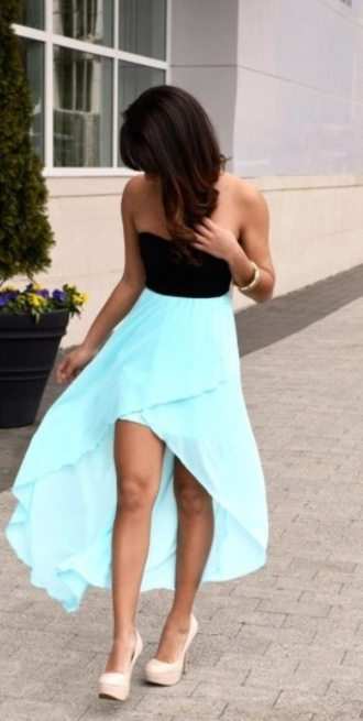 dress high-low dresses light blue black