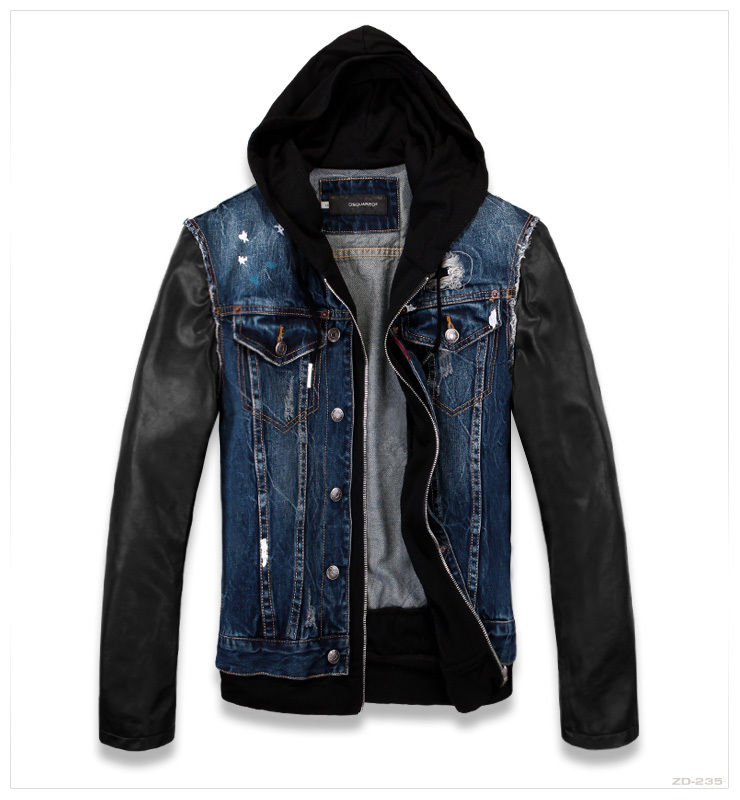 2013 Mens Street Blue Denim And Faux Leather Sleeve Jacket