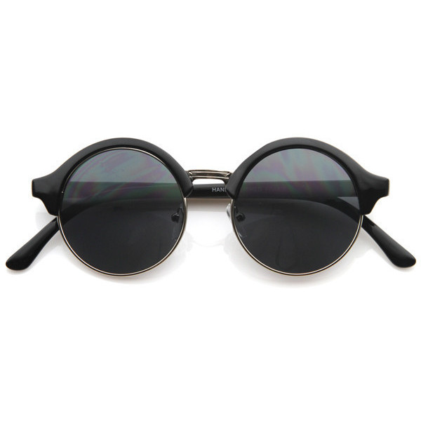 New half frame circle round vintage professor steampunk sunglasses 8583