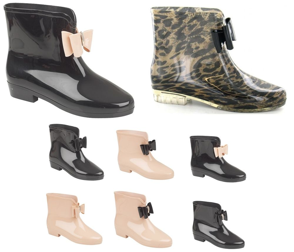 Ladies Bow Ankle Short Wellies Wellington Diamante Rain Snow Boots ...