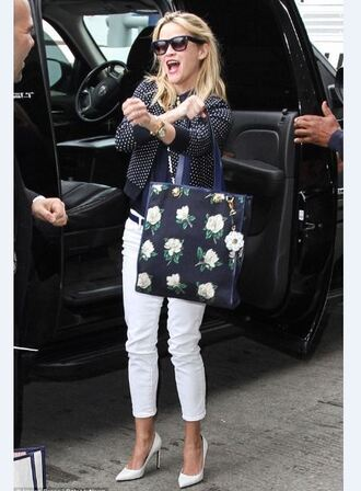 reese witherspoon pants polka dots cardigan