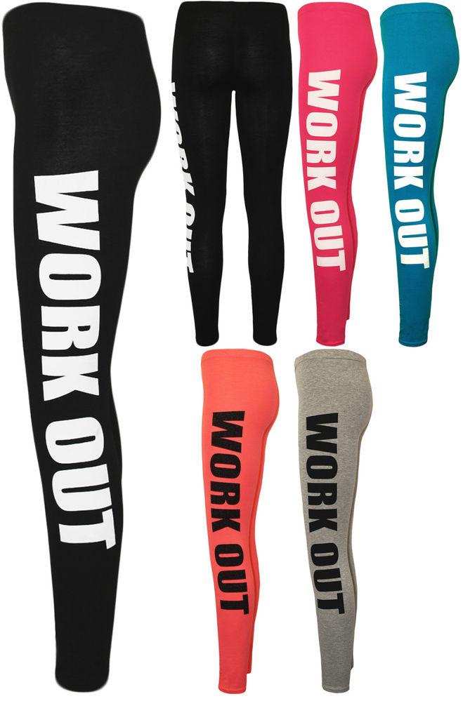 New Womens Work Out Print Ladies Full Length Long Stretch Leggings Pants 8-14