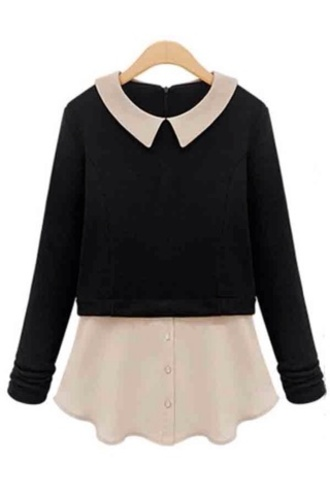 blouse peter pan collar blouse black blouse