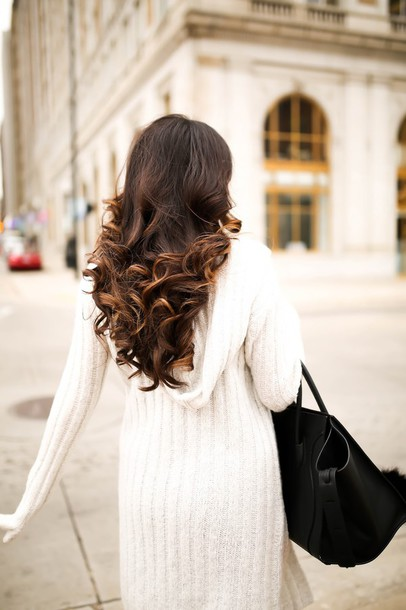 cardigan, tumblr, brunette, hairstyles, long hair, curly hair, white ...