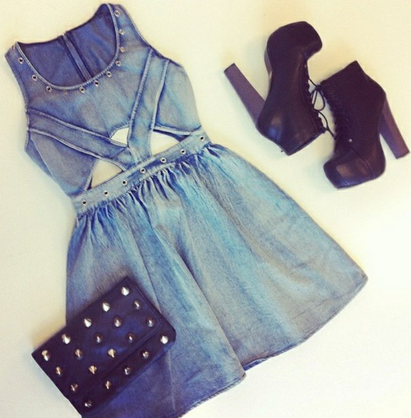 dress denim dress denim dress denim blue denim casual casual dress cute dress shoes bag platform lace up boots outfit skater dress summer outfits