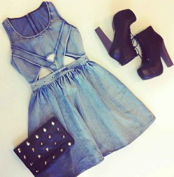 dress denim dress denim dress denim blue denim casual casual dress cute dress shoes bag denim dress