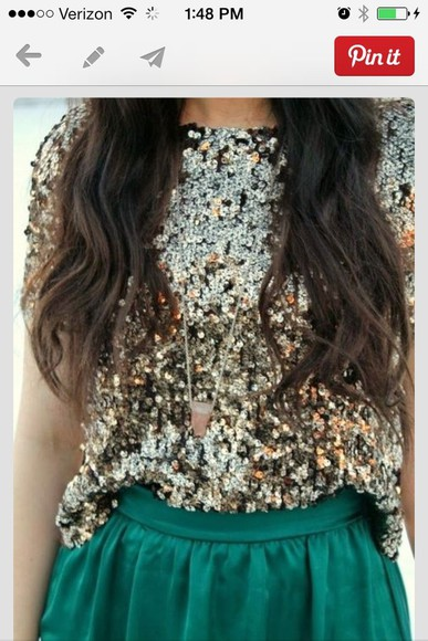 gold sequins blouse t-shirt cute skirt