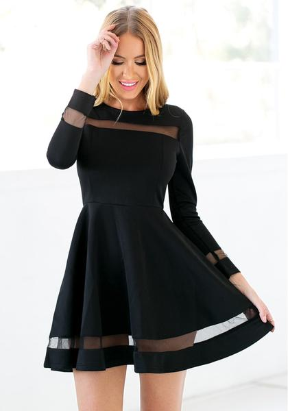 b793d7400709 Black Mesh Panel Skater Dress