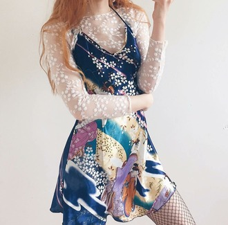 dress print dress pale beautiful style blue dress cute blue and white fashion kawaii dress japanese