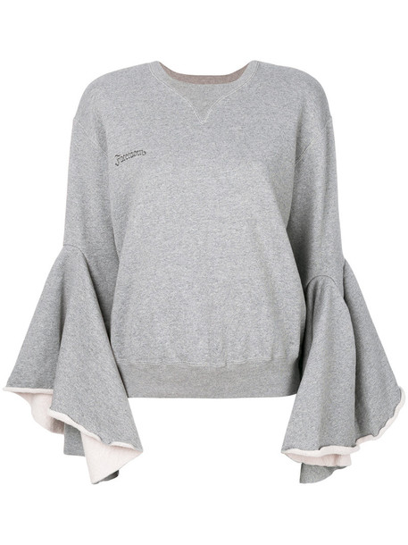 Facetasm sweater bell sleeve sweater women cotton grey