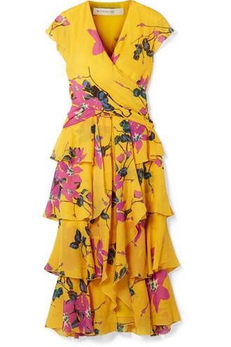 dress midi dress midi floral print silk mustard