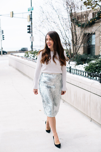 sequins and stripes blogger sweater skirt shoes make-up sequin skirt silver skirt midi skirt high heel pumps pumps