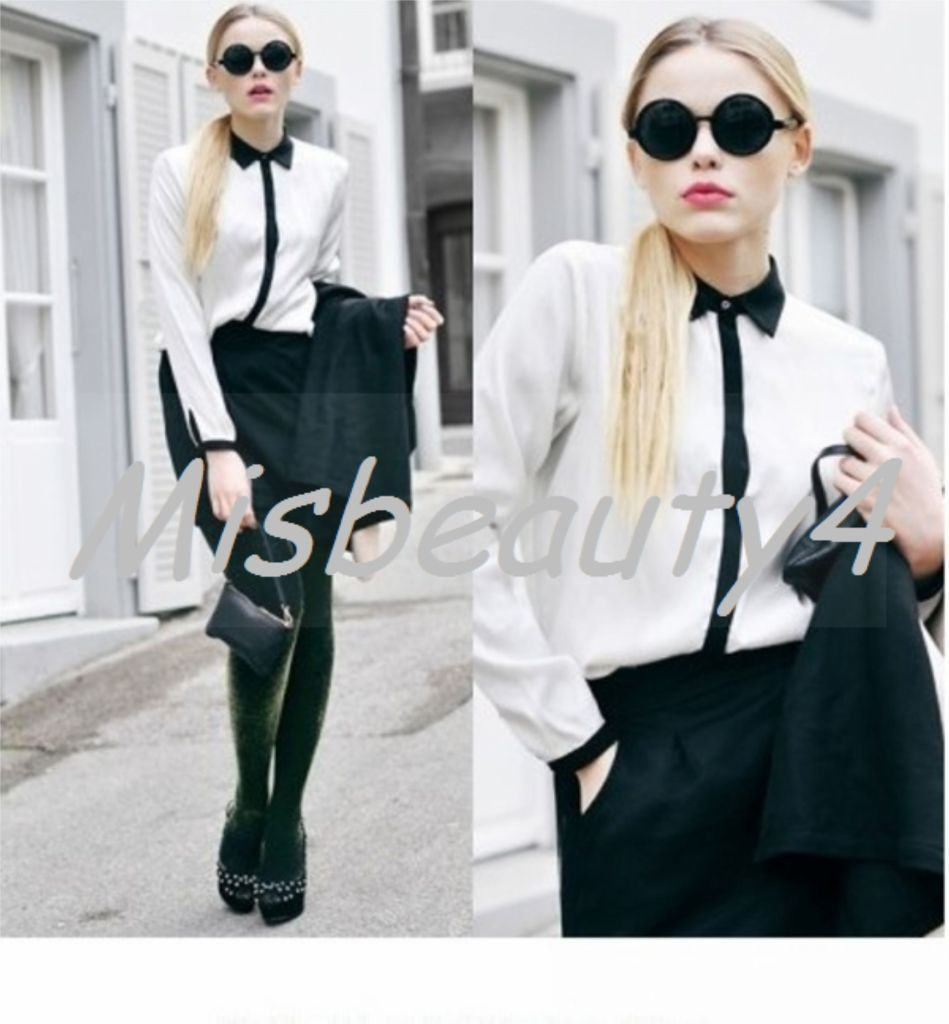 Women Black Trim Collar Cuffs Formal Shirt Blouse black Contrast ...