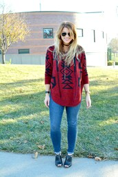 lestylorouge,blogger,sweater,cardigan,jewels,sunglasses,jeans,red sweater,skinny jeans,booties,fall outfits