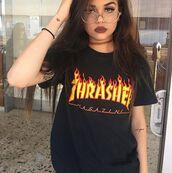 shirt,thrasher,t-shirt,glasses,rock,maggie lindemann,black,sunglasses