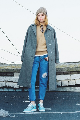 kristina magdalina blogger hipster knitted beanie ripped jeans nike sneakers grey coat long coat grey beanie