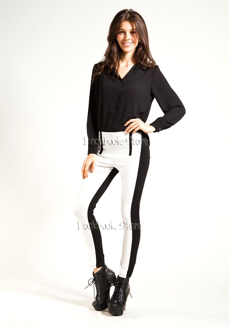 Women Colour Block Panel Black White Slim Thick Skinny Leggings Tights Legwear | eBay