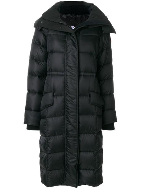 canada goose jacket puffer jacket long fur women cotton black