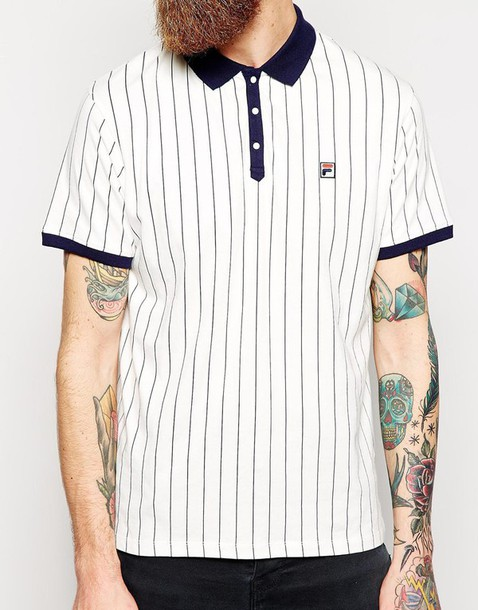 7735afe51c t-shirt, polo shirt, fila, vintage, striped top, white, navy ...