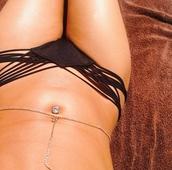 swimwear,black,bikini bottoms,strings,cute,girly,jewels