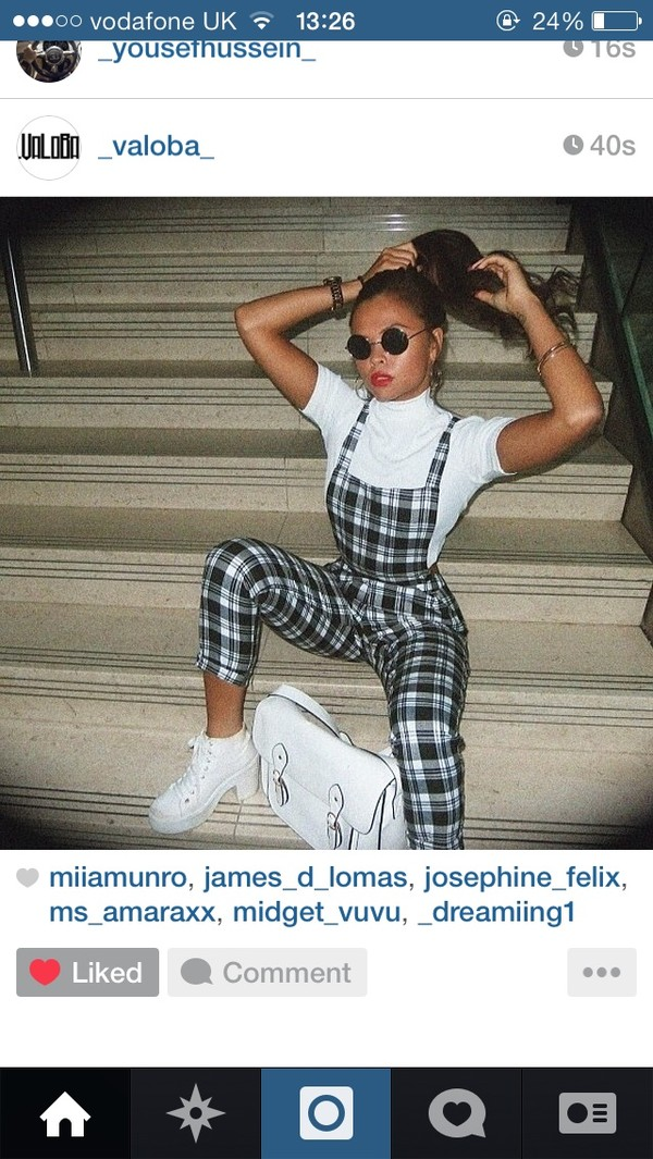 jeans bag shoes dungarees pants checkered check white black