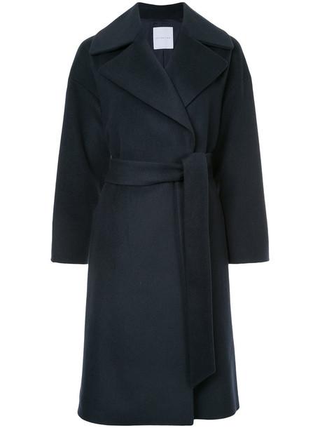 Estnation - classic trench coat - women - Wool - 38, Blue, Wool