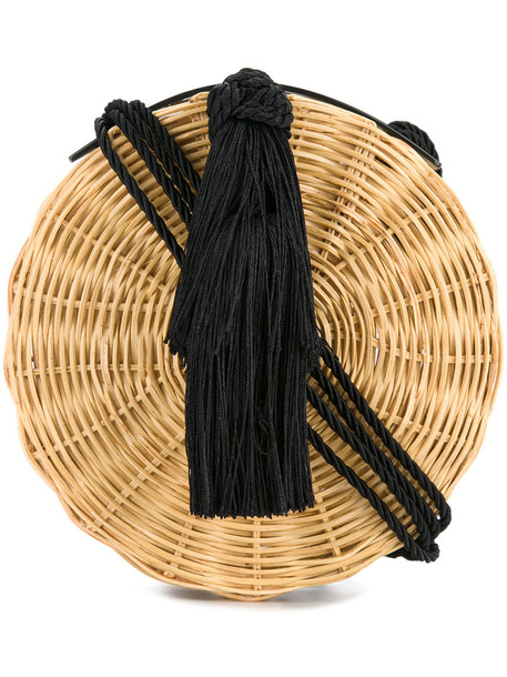 WAI WAI woven bag tassel women bag silk brown