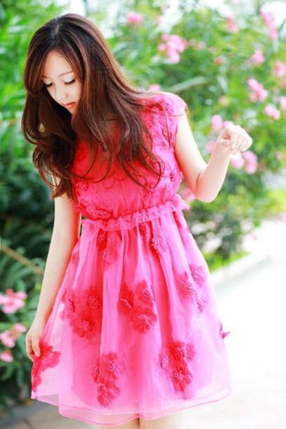 Dress Pink Flowers Spring Dress Cute Girl Short