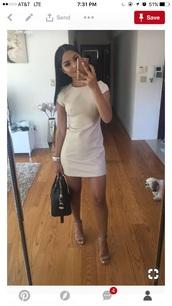 dress,basic,short dress,cute,tan