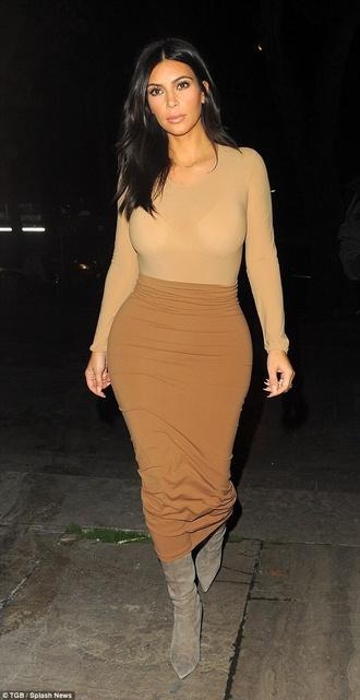 kim kardashian givenchy bodycon skirt camel