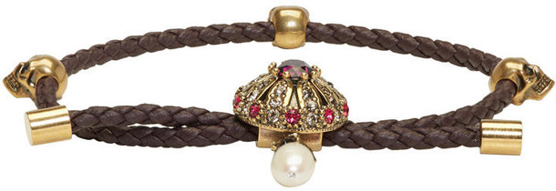 Alexander Mcqueen friendship bracelet skull burgundy jewels
