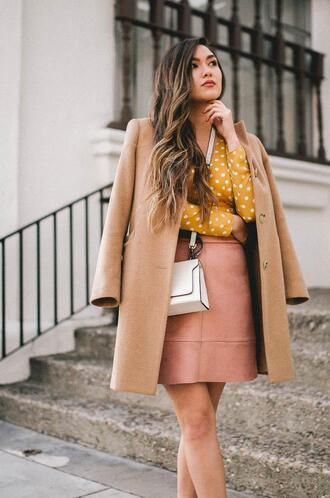 goldenswank blogger top coat skirt bag shoes