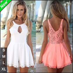 Online Shop [FindMe] LQ4116 2014 New Summer Women Summer Dresses Coral and White Cut Out Lace Backless Dress Playsuit Sexy Club Mini Dress|Aliexpress Mobile