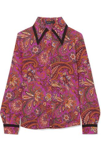 shirt silk purple top