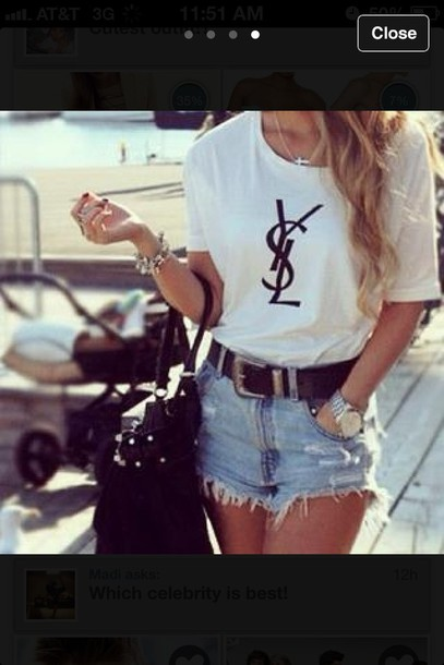 shirt shorts belt jewels bag