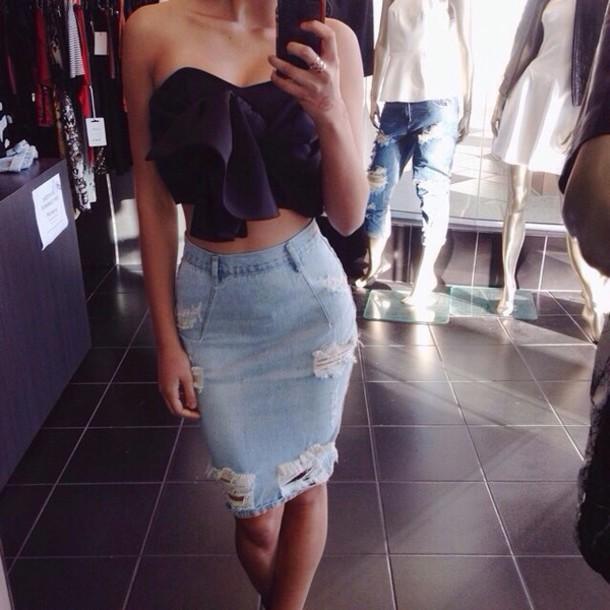 blouse skirt demin denim skirt skirts and tops bodycon skirt high waisted denim  jeans ripped denim f902908b77f3