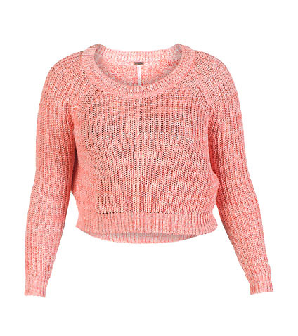 MARLED YARN RAGLAN CROPPED SWEATER - Pink - ESSENTIALS | Jimmy Jazz