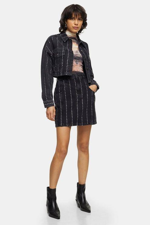 Studded Black Denim High Waist Skirt - Washed Black