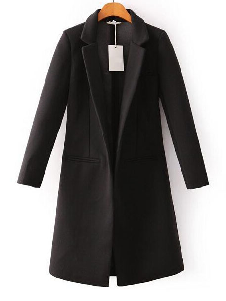 Bf style black plain notch lapel long wool coat without buttons