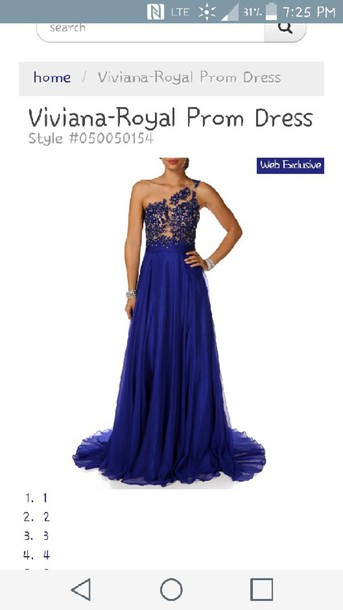 dress royal blue prom dress illusion neckline