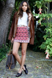ring my bell,blogger,blouse,bag,skirt,loafers,tribal pattern,leather jacket,black loafers,brown jacket,white top