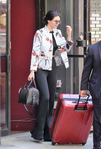pants ribbed kendall jenner model blazer top crop tops sunglasses jacket