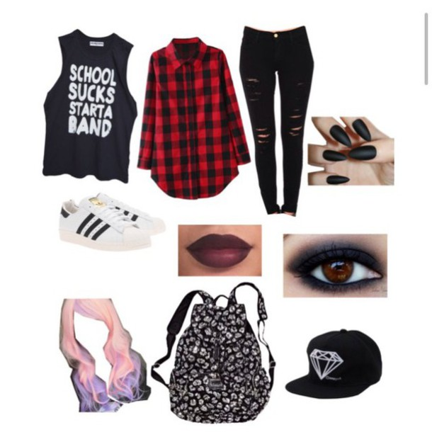 Hipster Bands: Jeans: Black, Rock, Hipster, Flannel, Band, Adidas, Tumblr