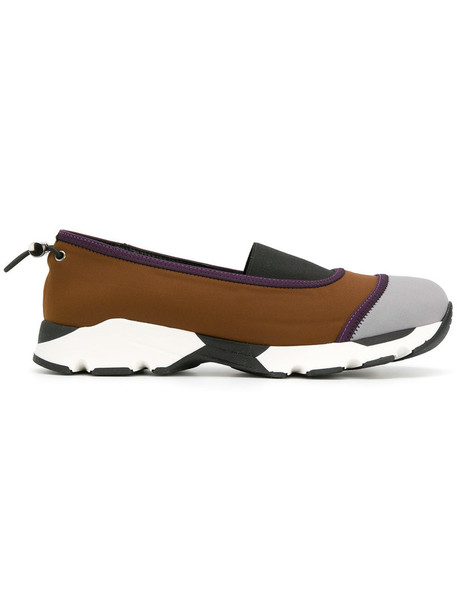 MARNI women sneakers leather brown neoprene shoes