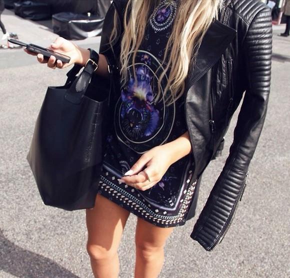 hot galaxy's jacket black leather, summer, dress, purse