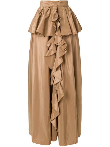 skirt women silk brown