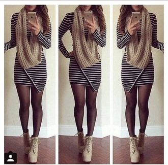 dress stripes striped dress scarf beige dress tights stockings high heels casual outfit shoes tight black white bodycon short mini long sleeves make-up